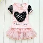 ชุดเสื้อกระโปรงหัวใจลายจุด-สีชมพู-(5-ตัว/pack)