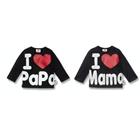 เสื้อยืดแขนยาว-I-LOVE-Papa,Mama-สีดำ-(4-ตัว/pack)