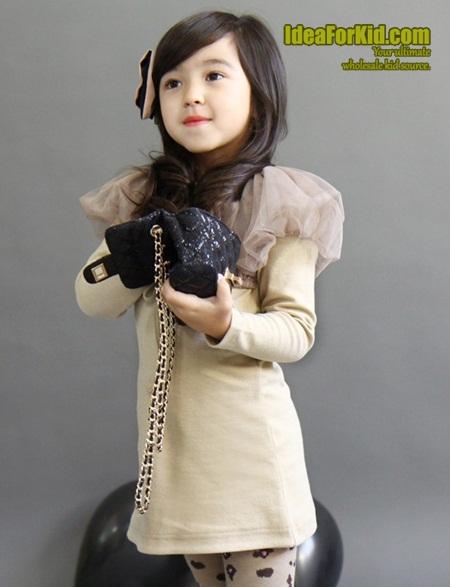 เดรสแขนยาวไหล่ป่องเกาหลี สี Apricot (5size/pack)
