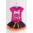 ชุดเสื้อกระโปรงคิตตี้ลายจุด-สีชมพู-(5-ตัว/pack)