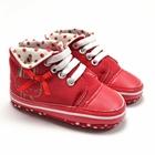 รองเท้าผ้าใบกระต่ายน้อยผูกโบว์-สีแดง-(6-คู่/แพ็ค)
