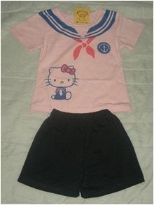 ชุดเสื้อกางเกง Kitty น่ารัก สีขาว(5 ตัว/pack)