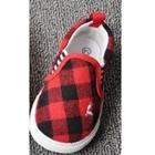 รองเท้าเด็กลายตาราง-สีแดง-(8-คู่/แพ็ค)