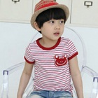 เสื้อยืดแขนสั้นลายทางสีแดงขาว-(5size/pack)