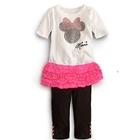 ชุดเสื้อกางเกงติดกัน-Minnie-สีชมพู-(5-ตัว/pack)