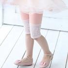 กางเกงเลกกิ้งขาสามส่วนลูกไม้-สีชมพู(5-ตัว-/pack)