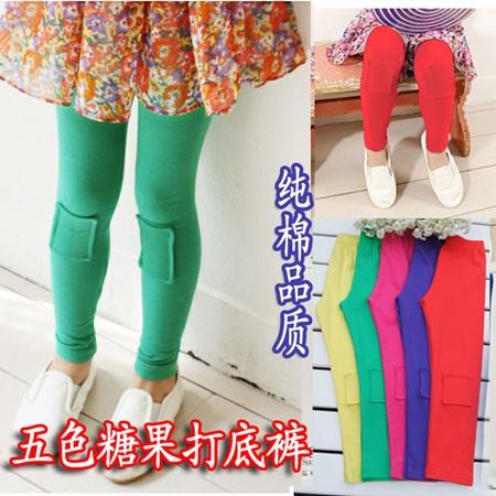 กางเกงเลกกิ้งปะหน้า สีเขียว (5 ตัว /pack)