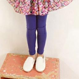 กางเกงเลกกิ้งปะหน้า สีม่วง (5 ตัว /pack)