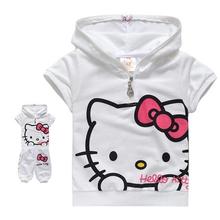ชุดเสื้อกางเกง Hello Kitty สีขาว (5 ตัว/pack)