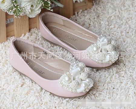 รองเท้าเจ้าหญิงไข่มุก สีชมพู (s24-29) (6คู่/แพ็ค)