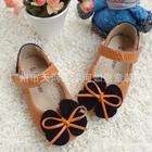 รองเท้าโบว์ผีเสื้อ-สีส้มลายงู-(s30-35)(6คู่/แพ็ค)