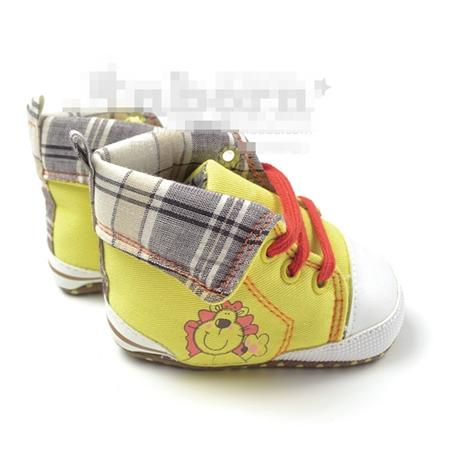 รองเท้าผ้าใบหุ้มข้อสิงโต สีเหลือง (3 คู่/แพ็ค)