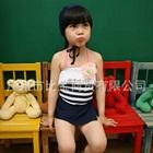 ชุดว่ายน้ำเด็กลายขวางสีน้ำเงิน-(5size/pack)