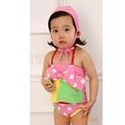 ชุดว่ายน้ำโบว์ใหญ่ลายจุดสีชมพู-(5size/pack)