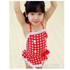 ชุดว่ายน้ำเด็กกระโปรงลายตารางสีแดง-(5size/pack)