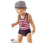 ชุดว่ายน้ำกางเกงสมอเรือสีแดงขาว-(5size/pack)