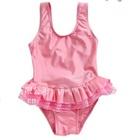 ชุดว่ายน้ำกระโปรงชั้นๆสีชมพู-(5size/pack)
