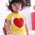 เสื้อยืดแขนสั้นหัวใจดวงโต-สีเหลือง(5size/pack)