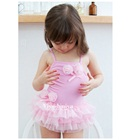 ชุดว่ายน้ำกระโปรงดอกกุหลาบ-สีชมพู(5size/pack)