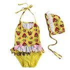 ชุดว่ายน้ำสตอเบอรี่ระบาย-สีเหลือง(5size/pack)