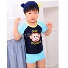 เสื้อกางเกงว่ายน้ำลิงน้อยสีน้ำเงิน-(5size/pack)