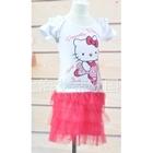 ชุดเสื้อกระโปรงKitty-บัลเล่ต์-สีขาวแดง(5-ตัว/pack)