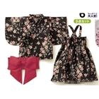 ชุดกิมโมโนเด็กผู้หญิงลายดอกไม้-สีดำ-(3-ตัว/pack)