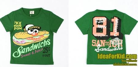 เสื้อยืด Sandwichs สีเขียว (5size/pack)
