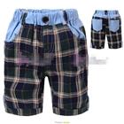 กางเกงขาสั้นลายสก๊อต-โทนเขียว-(5size/pack)