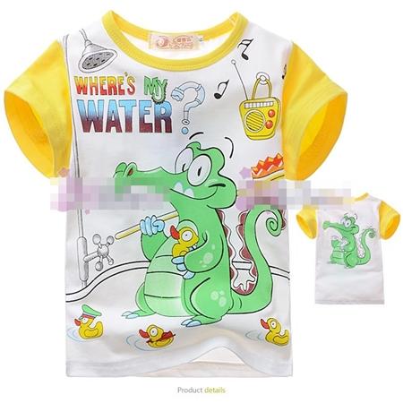 เสื้อแขนสั้นจระเข้เล่นน้ำ สีเหลือง (4size/pack)