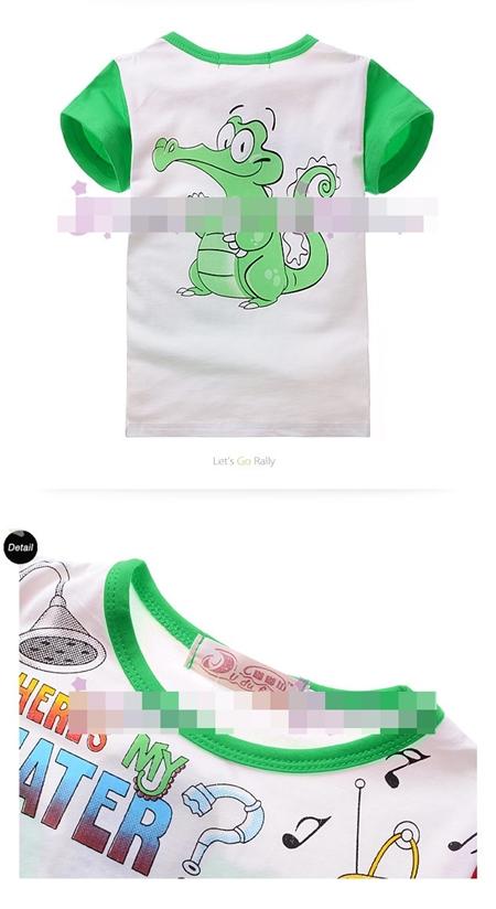 เสื้อแขนสั้นจระเข้เล่นน้ำ สีเขียว (4size/pack)