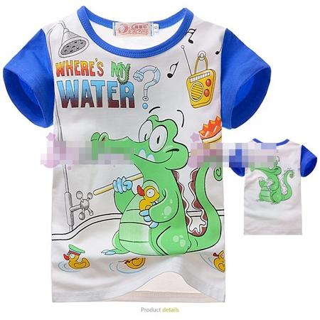 เสื้อแขนสั้นจระเข้เล่นน้ำ สีน้ำเงิน (4size/pack)