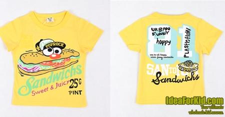 เสื้อยืด Sandwichs สีเหลือง (5size/pack)