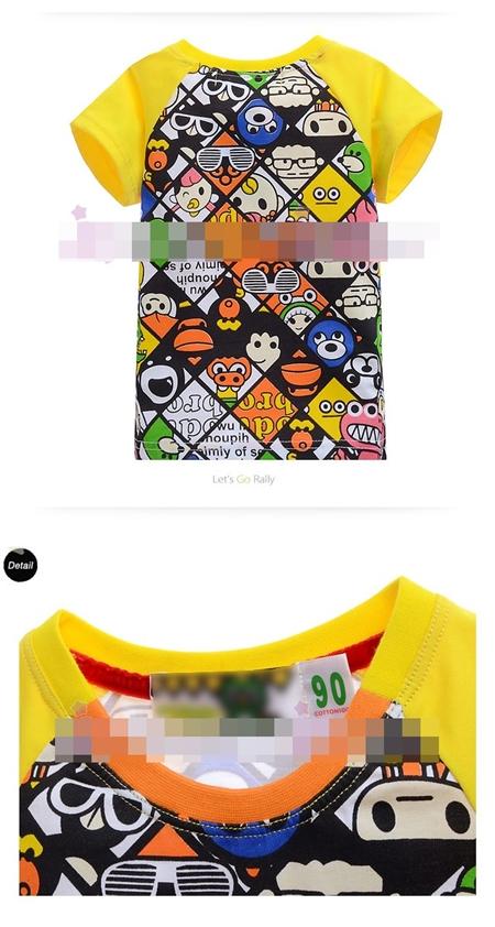เสื้อแขนสั้น Cartoon Mix สีเหลือง (6size/pack)