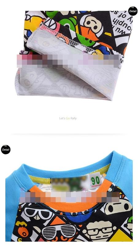 เสื้อแขนสั้น Cartoon Mix สีฟ้า (6size/pack)