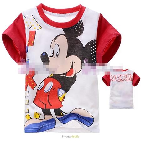 เสื้อแขนสั้น Mickey ทำท่าเขิน (6size/pack)
