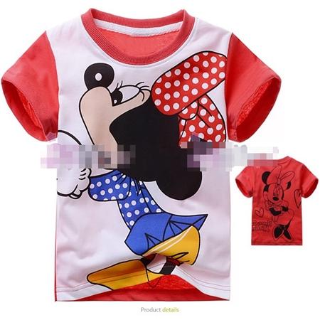 เสื้อแขนสั้น Minnie โบว์แดง (6size/pack)