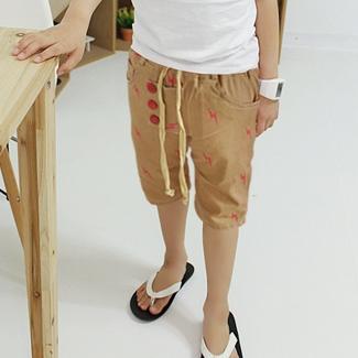 กางเกงขาสามส่วนลายสายฟ้า สีเบจ (5 ตัว/pack)