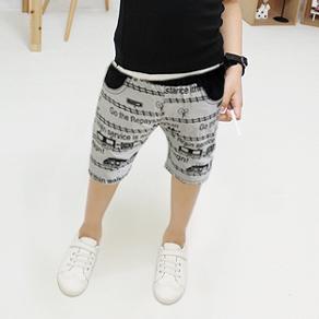 กางเกงขาสามส่วนลายรถไฟ สีเทา (5 ตัว/pack)