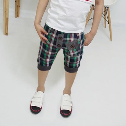 กางเกงขาสามส่วนลูกครึ่งสก๊อต สีเขียว (5 ตัว/pack)