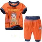 ชุดเสื้อกางเกงลิงใส่หมวก-สีส้ม-(5size/pack)