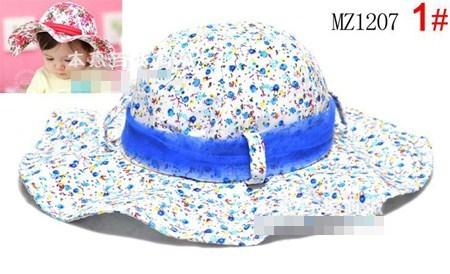 หมวกปีกบานลายดอกไม้วินเทจ คละสี (6ใบ/แพ็ค)