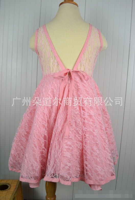 ชุดเดรสลูกไม้โชว์หลัง สีชมพู (5 ตัว/pack)