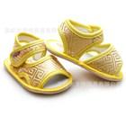 รองเท้ารัดส้นลายทอจีนดิ้นทอง-สีเหลือง-(4-คู่/แพ็ค)
