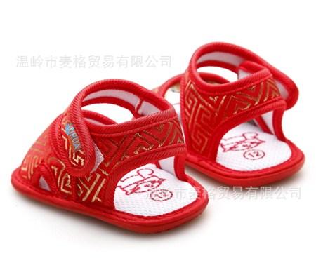 รองเท้ารัดส้นลายทอจีนดิ้นทอง สีแดง (4 คู่/แพ็ค)