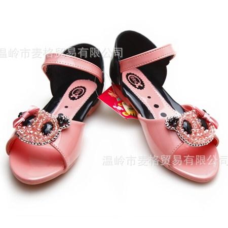 รองเท้ารัดส้นหมีคริสตอล สีชมพู (5คู่/แพ็ค)