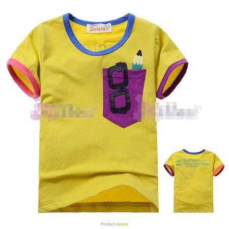 เสื้อแขนสั้นเด็กเนิร์ด สีเหลืองขมิ้น (5size/pack)