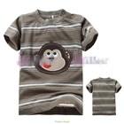 เสื้อแขนสั้นลิงจ๋อ-สีน้ำตาลขาว-(6size/pack)