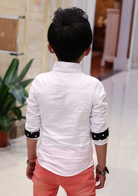 เสื้อแขนยาวเกาหลีลายจุด สีขาว (5 ตัว/pack)