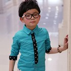 เสื้อแขนยาวเกาหลีลายจุด-สีฟ้า-(5-ตัว/pack)